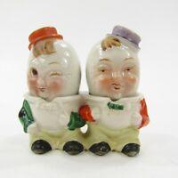 Vintage Salt Pepper Shaker Set Egg Head 3 pc w base Anthropomorphic Japan INV292