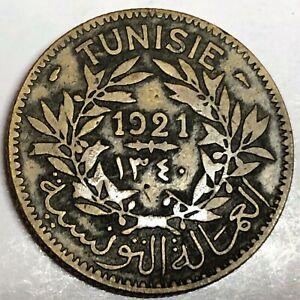 # C6171     TUNISIA    COIN,     2  FRANCS    1921