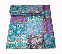New KING Vintage Indian Sari patch Handmade Kantha Quilt Bedspread Boho Throw 76