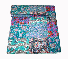 New KING Vintage Indian Sari patch Handmade Kantha Quilt Bedspread Boho Throw 76