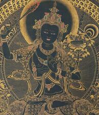 """16"""" RARE BLACK THANGKA! TIBETAN BLESSED THANGKA: MANJUSHRI, SWORD OF WISDOM #"""