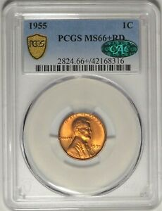 1955 1c PCGS MS 66+ RD CAC Gem Uncirculated UNC Red Lincoln Wheat Cent Coin