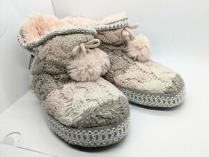 Muk Luk Womens Pink Knit Bootie Slippers Size 9/10