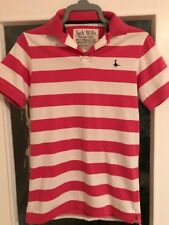 Jack Wills Pink and White Stripes V-Neck T-Shirt Mens Extra Small XS