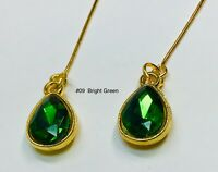 Bright Green Glass Rhinestone Repro Earrings Fits All Madame Alexander Dolls #09