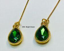 Bright Green Glass Rhinestone Repro Earrings Fits All Madame Alexander Dolls #09