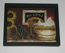 Rooster Rise and Shine 9 inch by 11 inch Wall Decor Farm  Sunflower