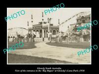 OLD LARGE HISTORIC PHOTO OF GLENELG, ADELAIDE SA, THE BIG DIPPER LUNA PARK c1930