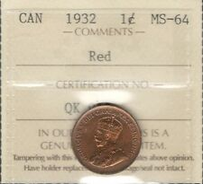 1932 Small Cent ICCS MS-64 RED * STUNNING King George V LUSTROUS BU Canada Penny