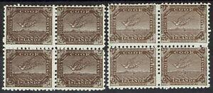 COOK ISLANDS 1893 TOREA BIRD 2D BLOCKS BOTH SHADES WMK SIDEWAYS PERF 11 */**