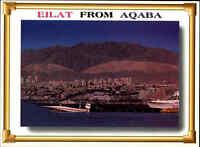 JORDANIEN Postkarte JORDAN Postcard Eilat View from AQABA Fernansicht color AK