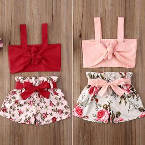 Summer Toddler Baby Girls Clothes T Shirt Tops Shorts Pants 2PCS Outfits Sets