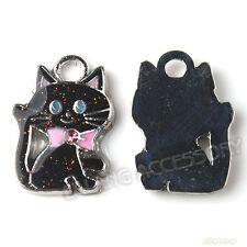 20x New Charms Multicolor Enemal Cats Pendants Fit Necklaces Bracelets 140952
