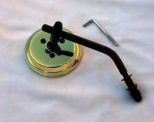 Brass Plated 3 Inch Mini Mirror wih Black Stem & Hardware HD, Bobber, Custom
