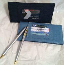 Brand New Light And Dark Blue Denim Fabric Checkbook Cover Set Of 2 W/ Pens