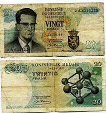 Belgique  - Belgium billet d'occasion de 20 francs pick 138 ayant circulé