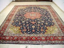 9X12 1940's Authentic Hand Knotted Antique Muted Colors Navy Sarouk Persian Rug