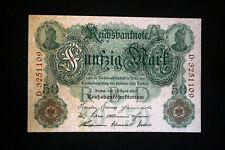 Dinero del imperio: 50 mark, de abril 21. 1910 en top conservación ro 42 a-D