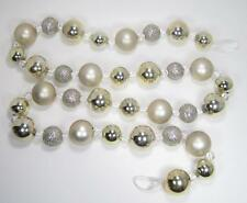 """Silver Pearl Gold Glitter String Garland 71"""" Christmas Holiday Decor Ornament"""