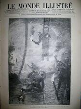 SAPEUR-POMPIERS INCENDIE HALLES CENTRALES POMPE A VAPEUR LE MONDE ILLUSTRE 1888