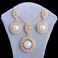 Gold Plated Women White Pearl Pendant Chain Necklace Stud Earrings Jewelry Set