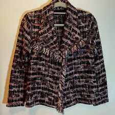 Ladies Tweed Jacket UK 12 Purple & Black Wool Mix Blanket Fringe Bouclet Short
