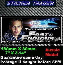 PAUL WALKER Sticker Memorial Decal FAST AND FURIOUS 7 DVD movie Sticker bomb