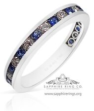 GIA G. G Certified Platinum .81 tcw Natural Blue Sapphire & Diamond Wedding Band