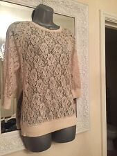 Next Beige Lace Sheer Top Size 6