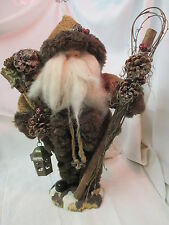 Large Woodsman hand made Santa Pine Cones Fur coat Corduroy Lantern Staff