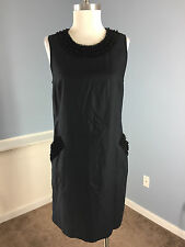 Ann Taylor LOFT 10 Black Shift Dress Pocket Ruffle Trim Career Cocktail LBD EUC