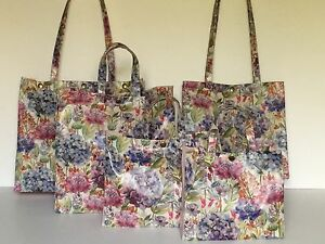 Handmade Oilcloth Bags 'Voyage' Hydrangea & Blush Pink, Nikki's Original Totes