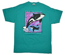 Vintage Sea World Extinction is Forever Tee Size XL Green Killer Whale T-Shirt