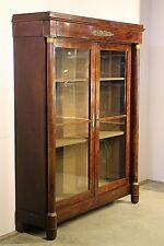 Tall antique French Empire bibiloteque mahogany bookcase glazed library cabinet