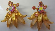 Vintage Juliana Pink Aurora Borealis Gold Tone Floral Clip On Earrings