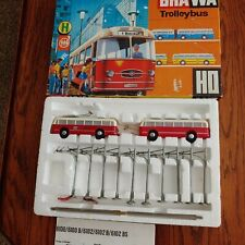 BRAWA 6102 HO Trolley Bus Starter Set w/Bus Traylor, in Yellow or Red
