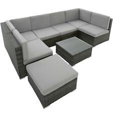 Poly Rattan Muebles de jardín Mesa de salón Conjunto de 7 plazas de mimbre Patio Balcón gris