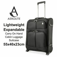 Aerolite Expandable Carry On Hand Cabin Luggage Suitcase 55x40x20 to 55x40x23 cm