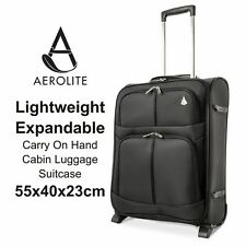 "& Black Aerolite Expandable Carry on Hand Cabin Luggage Suitcase 55x40x20 14""18"