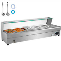 VEVOR Commercial Food Warmer Bain Marie Electric Buffet Pan 6x1/3GN 15cm Deep