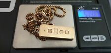 Vintage lingote de oro sólido 70s 9ct 375 y 24in Caja Cadena 51.48g caracteriza completamente