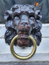 ANTIQUE OAK COLORED CARVED WOOD LIONS MASK WITH RING WALL PLAQUE HANGING
