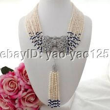 "K090408 19"" 9Strands White Pearl Blue Jade Necklace CZ Pendant"