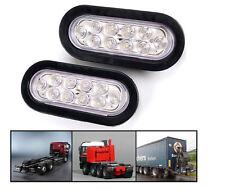 """2x 6"""" Oval White 10 LED Reverse Backup Trailer Truck Light High Low Brightness"""