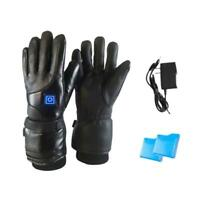Leather Electric Heated Gloves Winter Warmer Rechargeable Battery Motorcycle