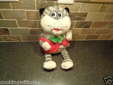 VINTAGE RARE PUSSY CAT KITTY PLUSH DOLL FIGURE GREY STRIPED RED VEST GREEN BOW