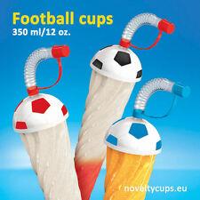 54 x Football Slush Ice Cup Slushy cups 12oz with Lid & Straw 350ml Black Ball