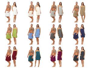 Damen Herren Saunakilt Saunatuch Sarong Kilt Wellness Klettverschluss Uni Farben