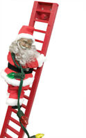MR CHRISTMAS STEPPING BLACK SANTA CLIMBS LADDER PLAYS 15 CAROLS USE ON TREE