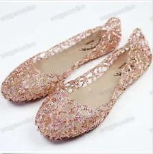 Womens Gold Ventilate Crystal Shoes Jelly Hollow Out Sandals Flat Boats US8 Pink